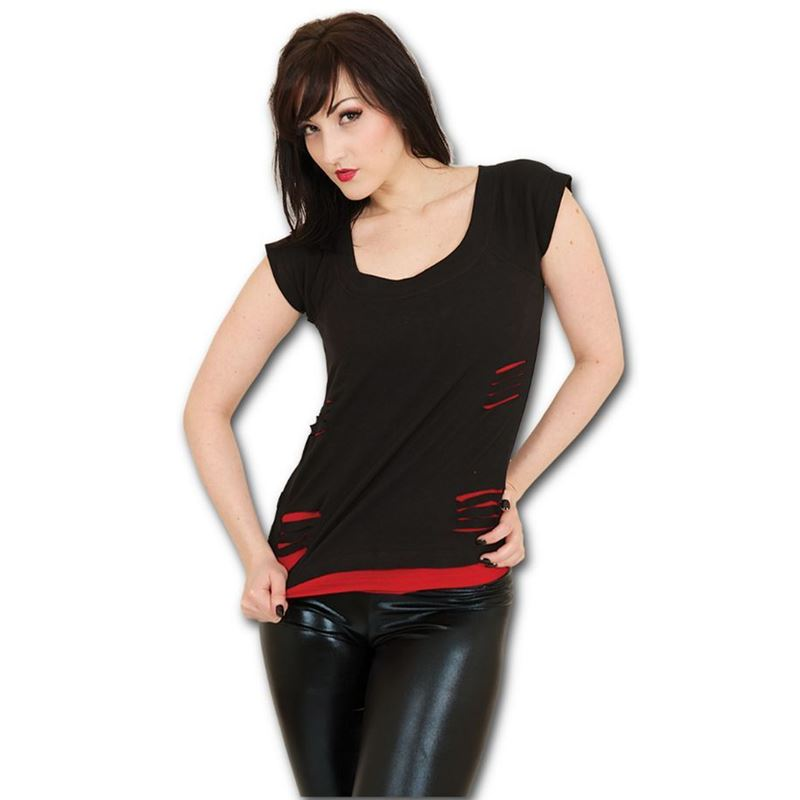 Spiral Direct Urban Fashion Ripped 2in1 Goth Vest Top