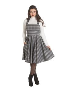 Hell Bunny Frostine Grey Tartan Check Pinafore Dress