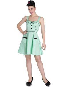 Hell Bunny 50s Style Vanity Mint Green Polka Mini Dress