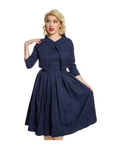 Lindy Bop Marianne Navy Swing Dress And Jacket Twin Set