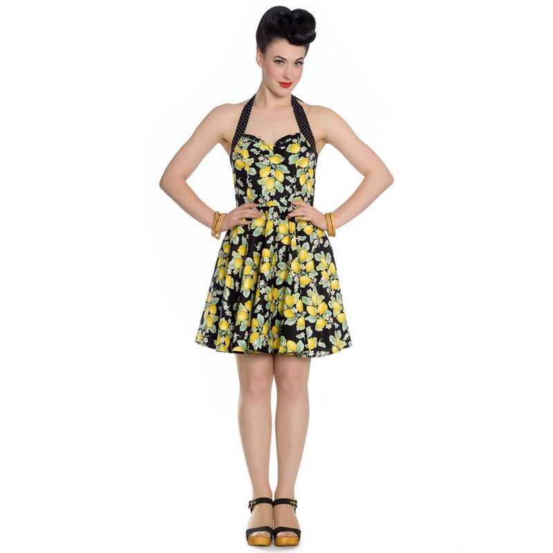 Hell Bunny Leandra Lemon Floral Halterneck Mini Dress