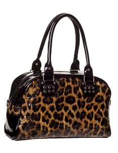 Banned Apparel 40s 50s Style Leopard Print Patent Vanity Bowling Bag