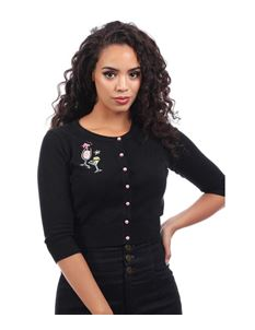 Collectif 50s Lucy Black Atomic Cocktails Cardigan