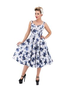Hearts & Roses Blue Rosacea 50s Floral Swing Dress