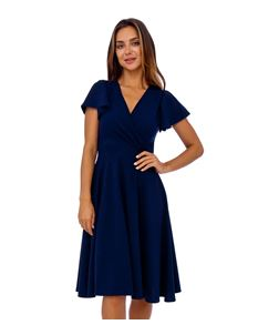 Clarence and Alabama Emma Waterfall Sleeved Dress Navy