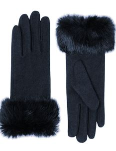 Pia Rossini Vintage Style Fur Trim Navy Wool Gloves