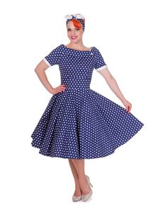 Dolly And Dotty Darlene 50s Dark Blue Polka Swing Dress