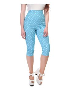 Collectif 50s Style Gracie Blue White Nautical Capris