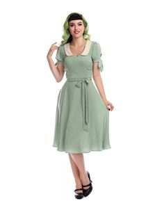Collectif 40s Style Mirella Light Green Swing Dress