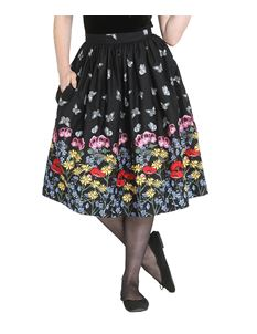 Hell Bunny Meadow Floral Butterfly 50s Black Skirt