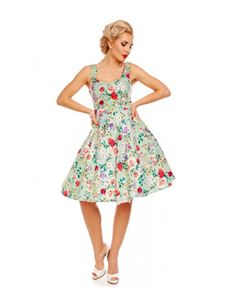 Dolly & Dotty Natalie Green Retro Floral Swing Dress