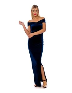 Bettie Vintage Classy Velvet Maxi Dress In Navy Blue