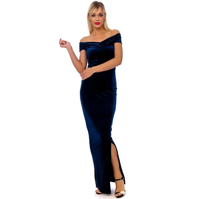 71c51b96a15 Bettie Vintage Navy Blue Velvet Floor Length Maxi Dress ...
