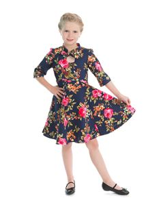Hearts & Roses Girls Navy Pink Floral Party Dress