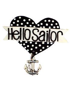Guns N Posies Hello Sailor Heart Brooch With Anchor