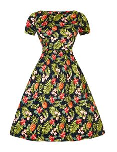 Lady Vintage 50s Style Eloise Pineapple Tiki Floral Day Dress