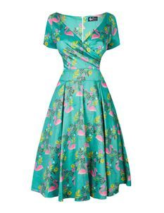 Lady Vintage Voluptuous Ursula Flamingo Flare Dress