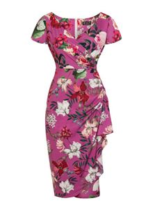Lady Vintage Elsie Balearic Garden Purple Wiggle Dress
