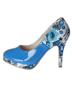 Poisoned Fairy Meadow Patent High Heel Platform Shoes Blue