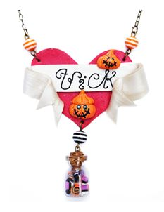 Guns N Posies Trick Or Treat Tattoo Art Heart Necklace