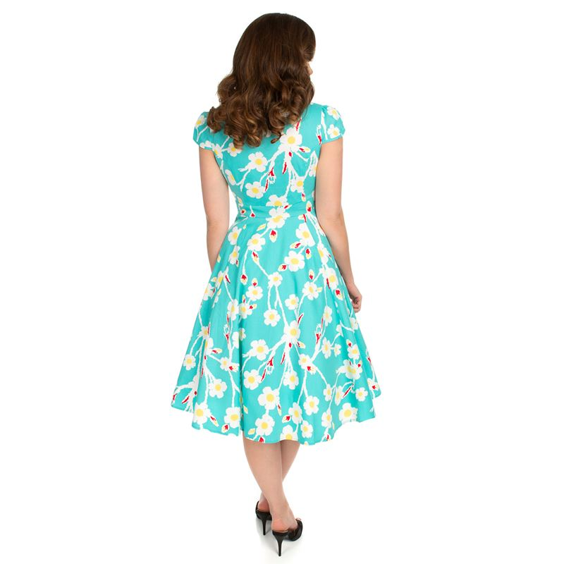 Hearts & Roses Nancy Floral Daisy Swing Blue 50s Dress