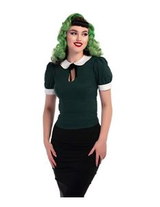 Collectif 40s 50s Dark Green Khloe Blouse Top