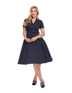 Collectif Caterina 40s Polka Dot Navy Swing Dress