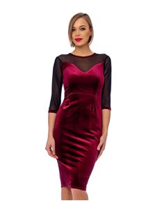 Bettie Vintage Claret Mesh Detail Velvet Bodycon Dress