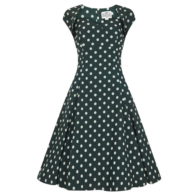 Collectif Regina 50s Green Velvet Polka Flock Dress