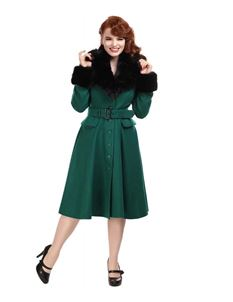 Collectif 50s Vintage Cora Green Swing Coat