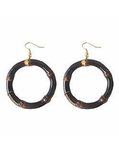 Lady Luck's Round Tiki Bamboo Earrings - Burnt