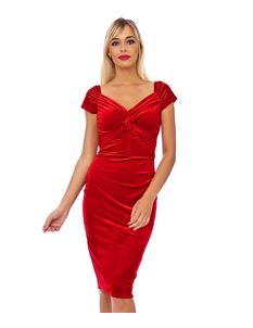Clarence and Alabama 1950s Red Velvet Wiggle Dress