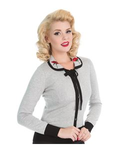H&R London Vintage 50s Style Floral Collar Cardigan