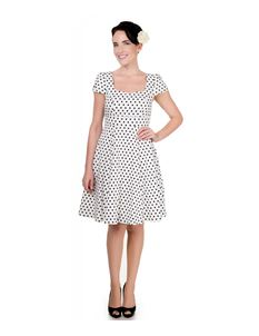 Claudia Flirty Fifties Style Dress In White