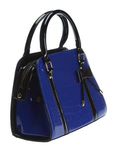 Poisoned Patent PVC Bow Vintage Handbag Blue