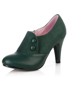 Collectif 40s Maria Faux Suede Green Shoe Boots