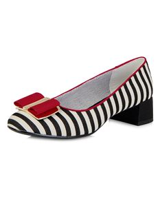 Ruby Shoo June White, Black And Red Striped Shoe