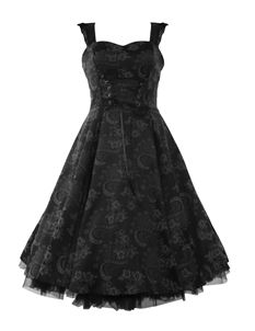 H&R London 50's Brocade Floral Dress Black