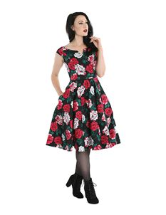 Hell Bunny Ruby Floral Roses 50s Dress