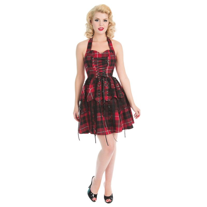 Hearts & Roses Red Tartan Emo Punk Mini Lace Prom Dress