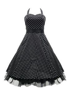 H&R London 50's Small Polka Dot Dress Black & White