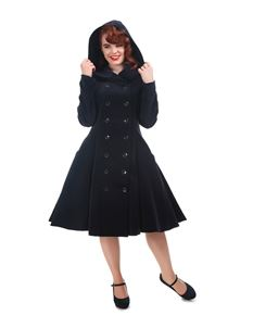 Collectif Heather Navy Blue Velvet 50s Hooded Coat