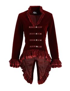 Hearts & Roses Red Velvet Victorian Gothic Jacket