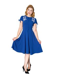 Sheen Ava 40s Vintage Style Royal Blue Tea Dress