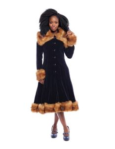Collectif 30s 40s 50s Pearl Navy Velvet Faux Fur Coat