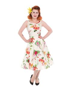 Hearts & Roses Ivory Rose Floral Swing Dress