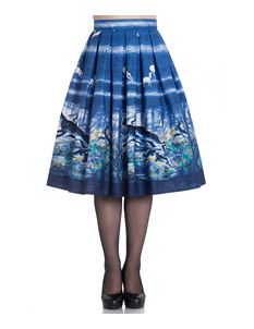 Hell Bunny Montana Stags Deer 50s Style Blue Skirt
