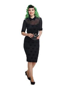 Collectif 50s Wednesday Velvet Cat Pencil Dress