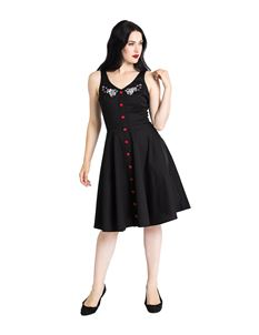 Hell Bunny Thumper Bunny Rabbit Mid Black Dress