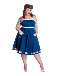 Hell Bunny Siren 50s Style Sailor Nautical Dress